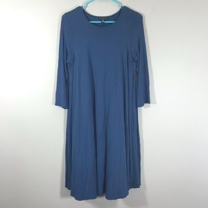 Eileen Fisher blue swing dress pockets size small